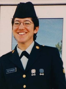 ** FILE ** Spc. Alyssa Peterson appears in uniform in a family handout photo, date and location not known. Peterson, 27, of Flagstaff, Ariz., died Monday, Sept. 15, 2003, near Telafar, Iraq, from a non-combat weapon discharge, according to a statement released by Fort Campbell. Peterson was assigned to C Company, 311th Military Intelligence Battalion, 101st Aiborne Division, based at Fort Campbell. (AP Photo/Peterson Family Handout)